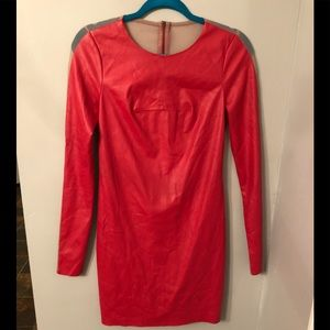 Faux red leather mini dress BCBG